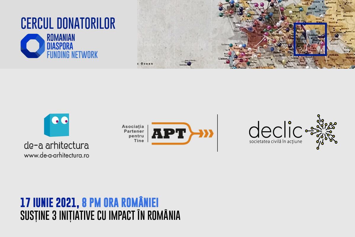 De-a arhitectura, Declic și Asociația Partener pentru Tine susținute la prima ediție a Cercului Donatorilor Romanian Diaspora Funding Network