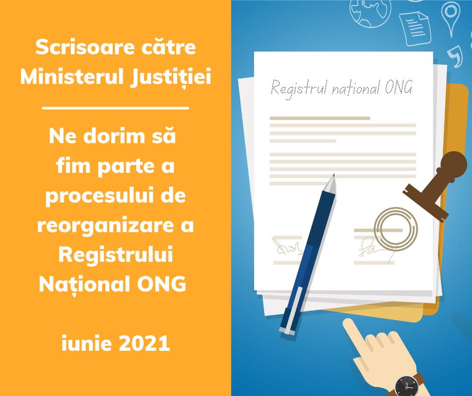 Scrisoare către Ministerul Justiției pentru colaborarea cu societatea civilă în procesul de reorganizare a Registrului Național ONG