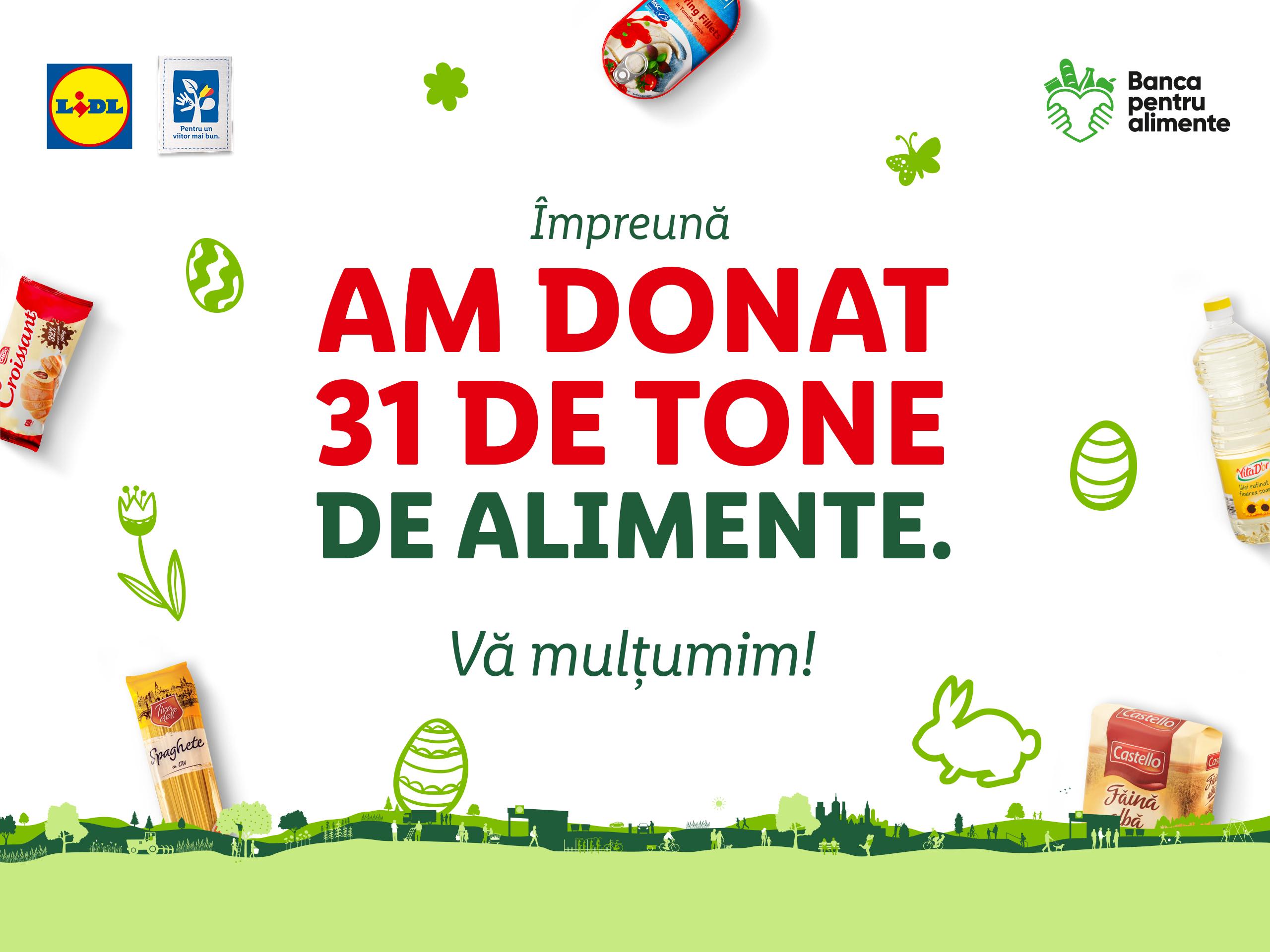 Peste 31 de tone de produse alimentare donate pentru comunitățile vulnerabile, în cadrul campaniei organizate în preajma Paștelui împreună cu rețeaua națională a Băncilor pentru Alimente