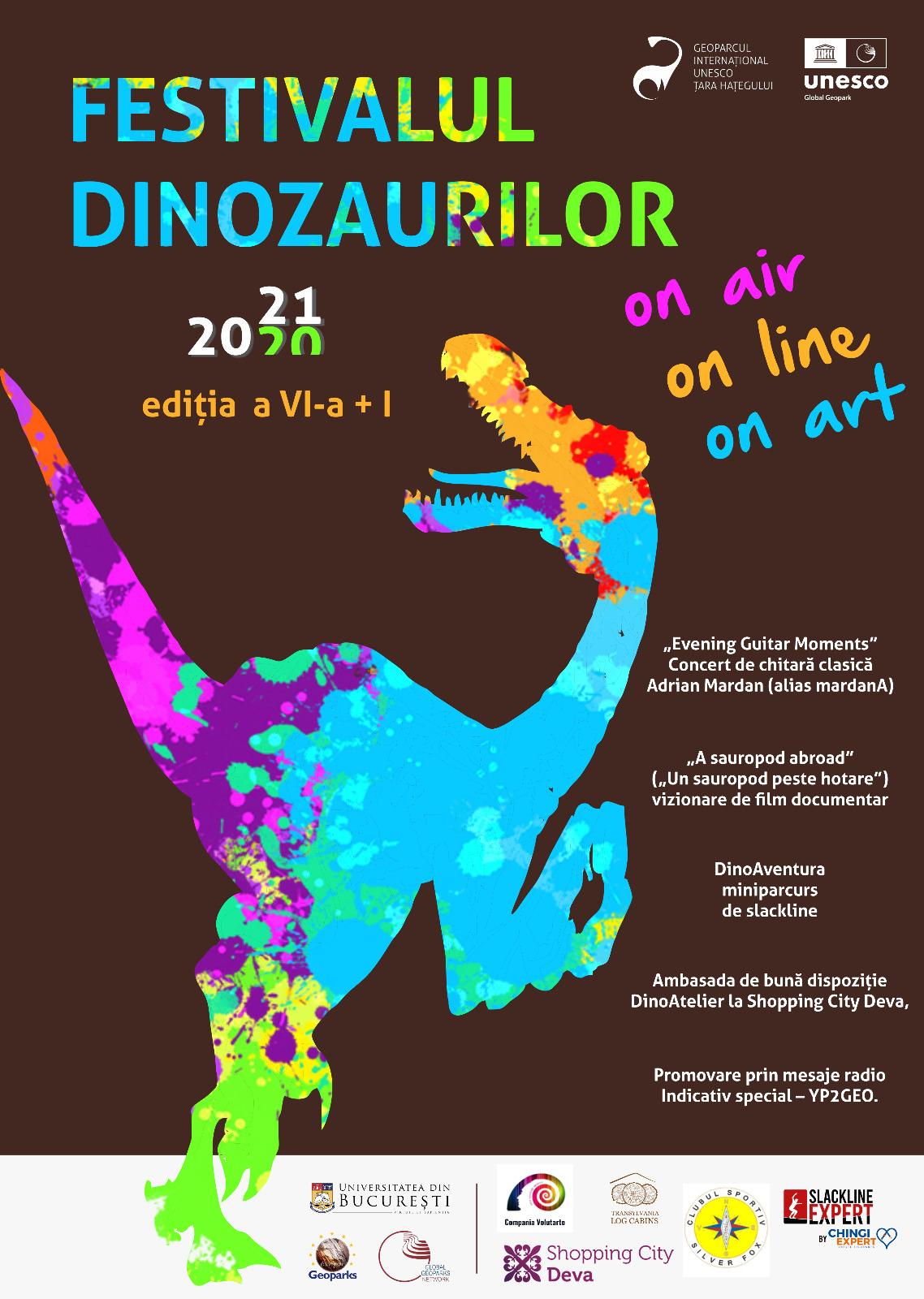 """În 2021, Festivalul Dinozaurilor este """"on air, on line & on art"""""""