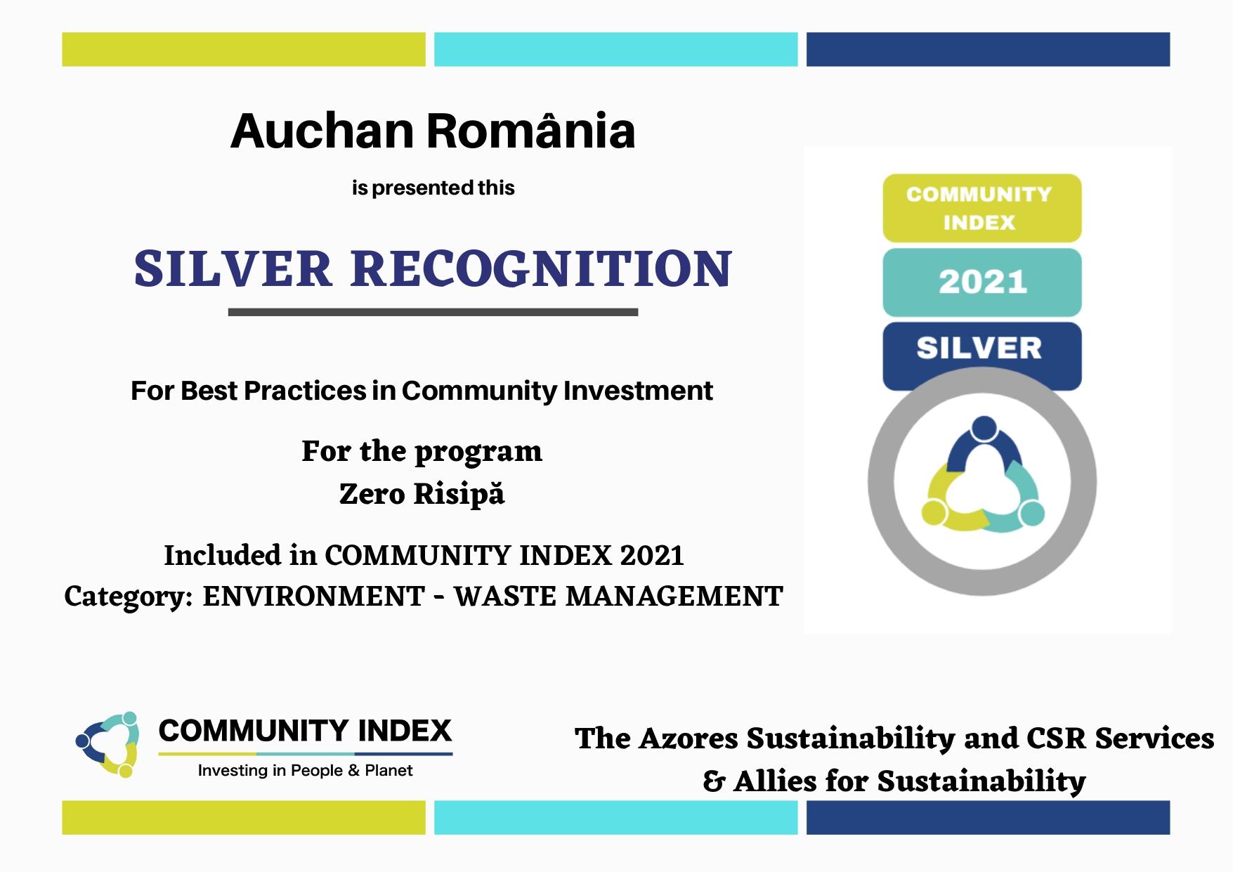 Auchan obține patru distincții silver în cadrul Community Index pentru performanța proiectelor sale de CSR
