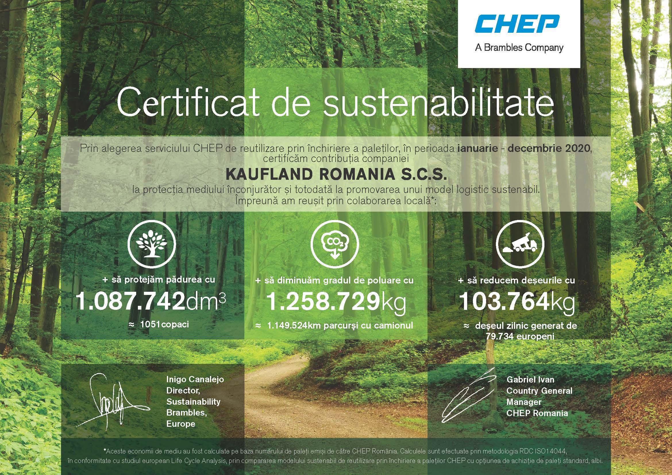 Kaufland România primește certificatul de sustenabilitate din partea CHEP