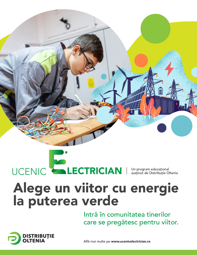 Energia e superputerea ta! Distribuție Oltenia dă startul înscrierilor în programul Ucenic Electrician pe platforma www.ucenicelectrician.ro și în liceele partenere, acum și în județul Olt