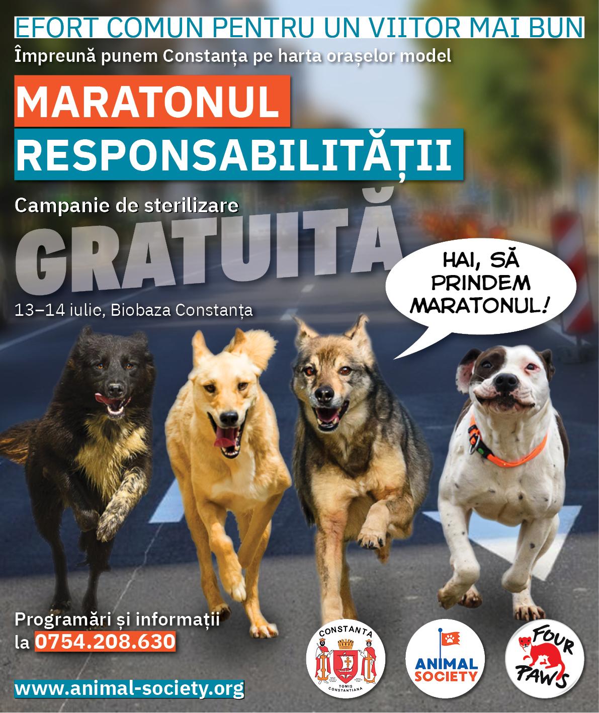 Animal Society și Primăria Municipiului Constanța lansează Maratonul Responsabilității. Vino pe 13 și 14 iulie cu animalul tău de companie la sterilizat și pune Constanța pe harta orașelor model!