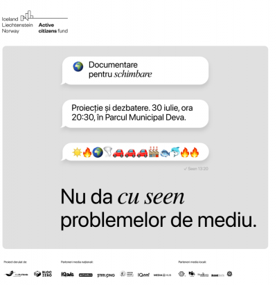 """Asociațiile MaiMultVerde și Bloc Zero lansează  proiectul """"Documentare pentru Schimbare"""" cu o proiecție de film în aer liber, la Deva"""