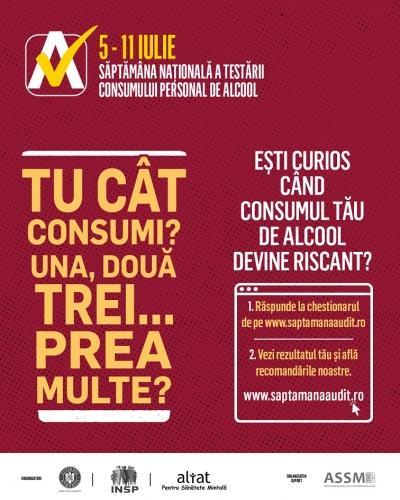 Consumul riscant de alcool, subiectul unui nou screening național: românii își pot evalua online consumul de alcool, între 5 și 11 iulie, pe www.saptamanaaudit.ro