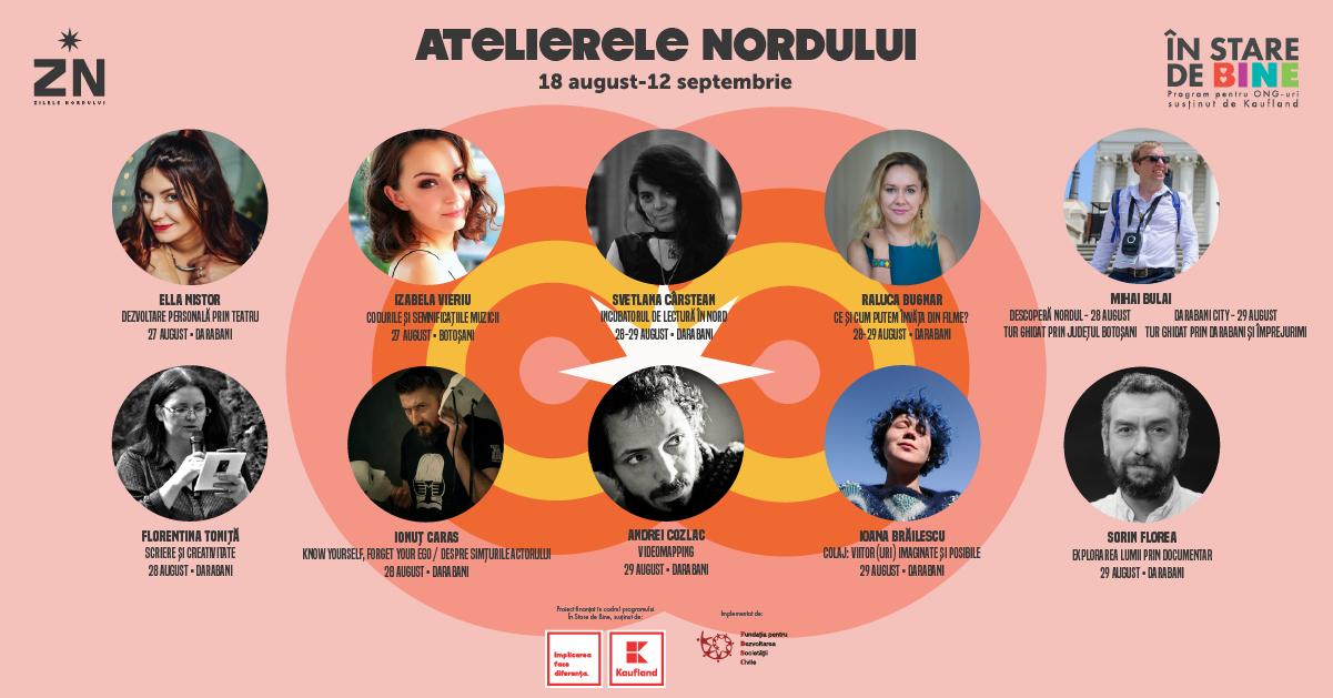 Scriitoarea Svetlana Cârstean, actorii Mirela Nistor, Ioana Brăilescu și Ionuț Caras și artistul vizual Andrei Cozlac vin la Darabani