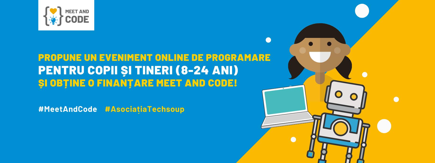 Ultimele zile pentru a aplica la Meet and Code 2021: finanțări pentru evenimente online de programare și tehnologie