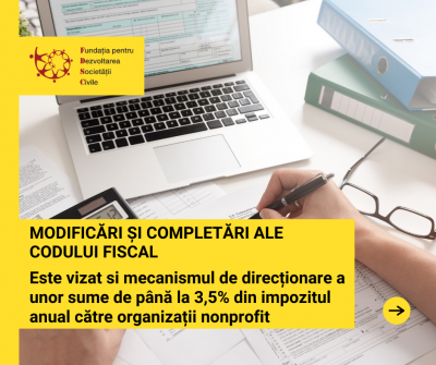 Modificările Codului Fiscal vizează și mecanismul de direcționare a unor sume de până la 3,5% din impozitul anual către organizațiile nonprofit