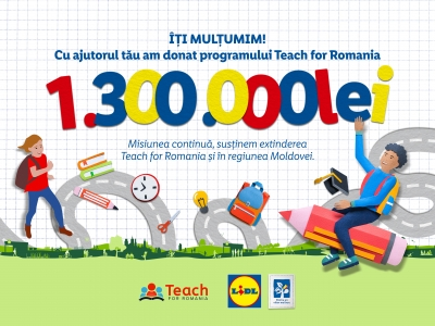 Cu sprijinul clienților săi, Lidl România investește 1.300.000 de lei în programul Teach for Romania