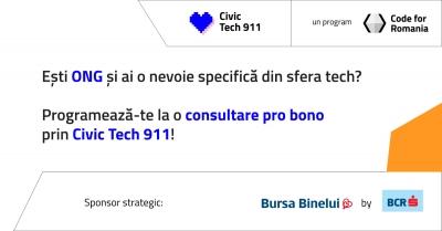 Civic Tech 911 - programul Code for Romania de asistență tehnică pro bono pentru ONG-uri devine full-time