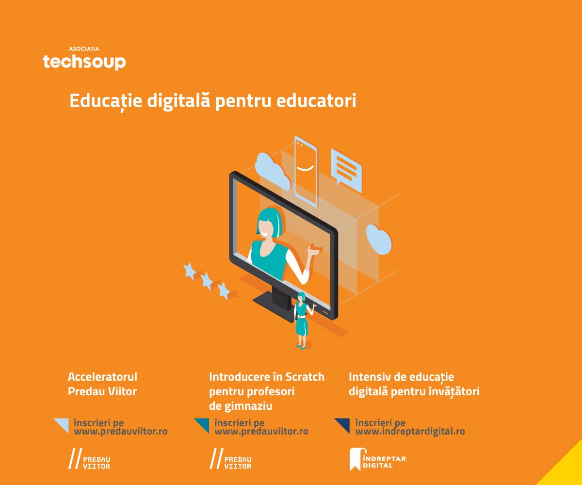 Ultimele zile de înscriere la ediția de toamnă a cursurilor online gratuite de educație digitală și programare vizuală #Techsoup